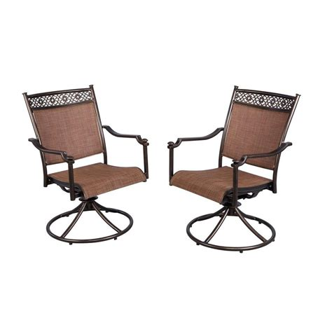hton bay niles park sling patio swivel rockers 2 pack