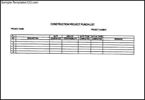 punch list template excel construction punch list sle templates sle templates