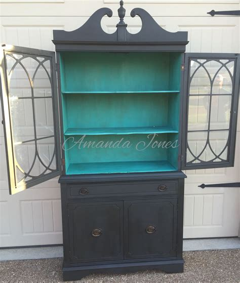 chalk painted china cabinet antique china cabinet painted graphite chalk paint with