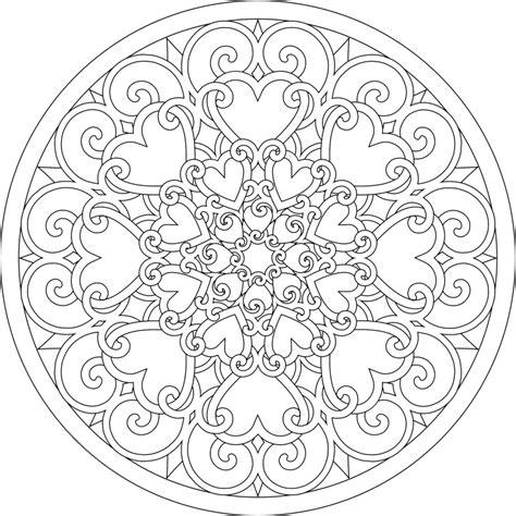 Full Page Coloring Mandalas | full heart mandala coloring pages coloring sheets