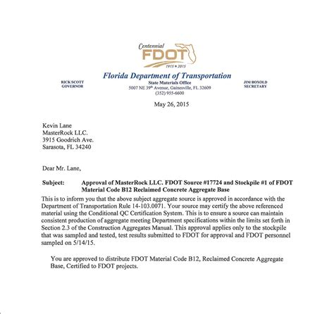 material certification letter aggregate material certified for fdot masterrock we