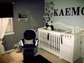 black gray white paisley boy nursery panda theme for