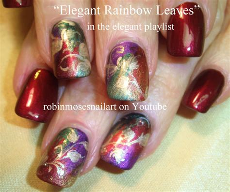 nail art leaf tutorial red and gold autumn leaves nail art elegant nails design