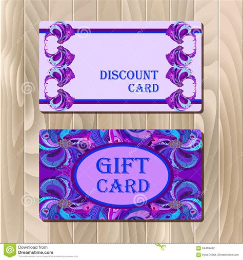 discount card template with peacock feathers design stock