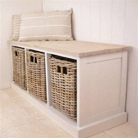 bench storage seating new antique white 3 basket storage unit bench seat