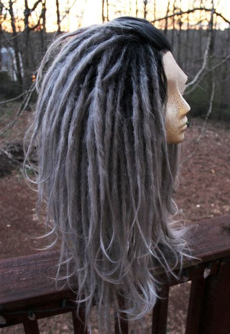 dradlock wool hairstyle lace front silver ombre synthetic dreadlock wig synthetic