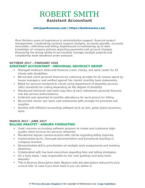 resume format for accountant assistant pdf accounting assistant resume sles qwikresume