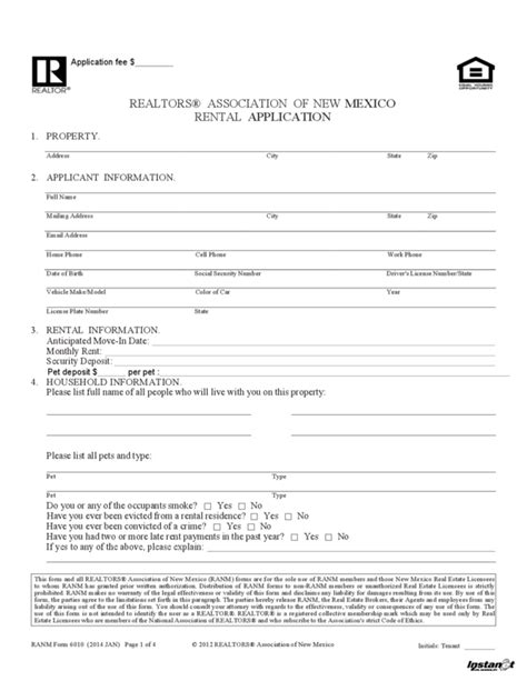 Credit Check Forms For Rentals New Mexico Rental Application Legalforms Org