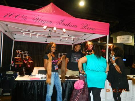 booth at bronner brothers maya pink and black tent and matching t shirts bronner