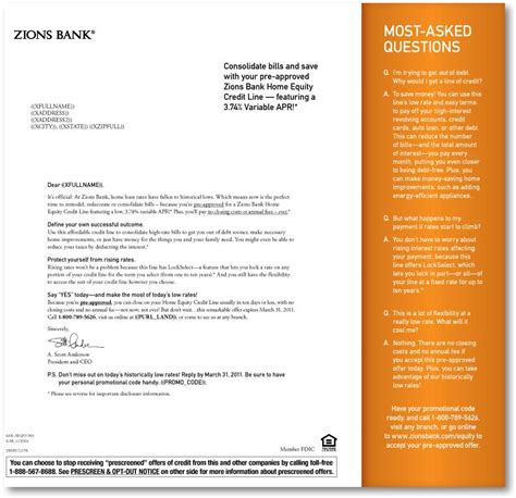 Zions Bank Letter Of Credit Zions Bank Purl Letter Front The Financial Brand