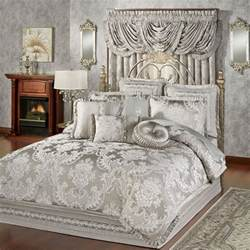 elegant silver patterned king size comforter set and large