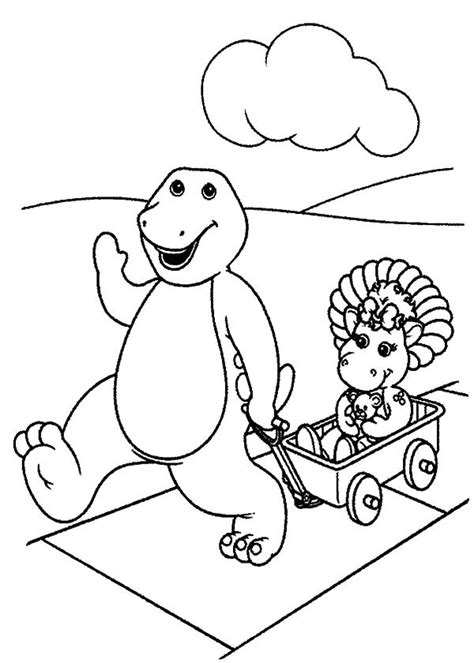 Go Barneys The Fall Barney Color by Barney Pulling Baby Bop On A Cart Coloring Pages Best