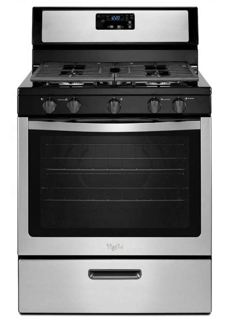 whirlpool 5 1 cu ft gas range in stainless steel