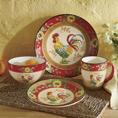 16 piece sunflower rooster dinnerware set from seventh