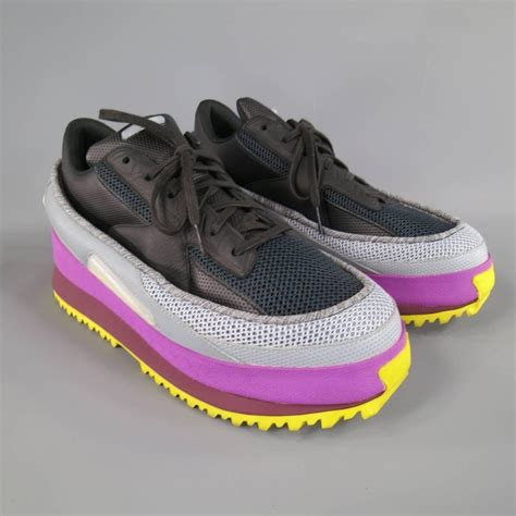 raf simons x adidas size 11 black gray purple and yellow platform sneakers for sale at 1stdibs