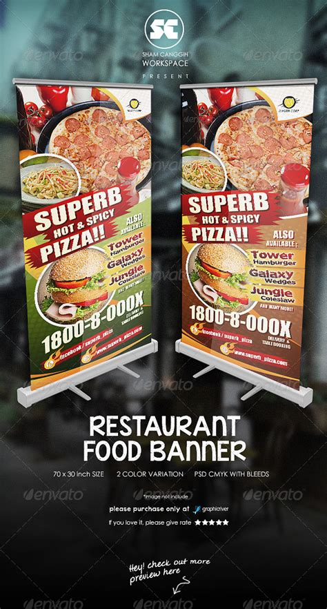 restaurant food banner signage print templates