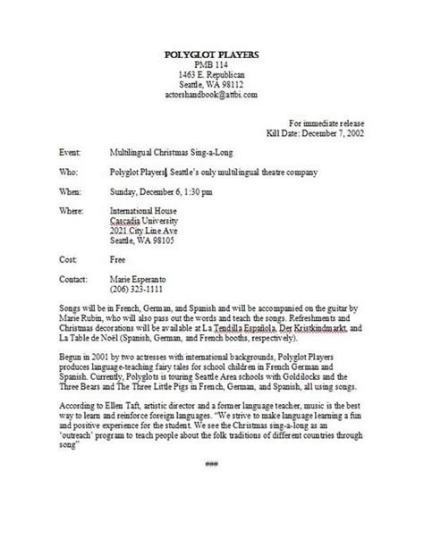 theatre press release template format and exle of a press release