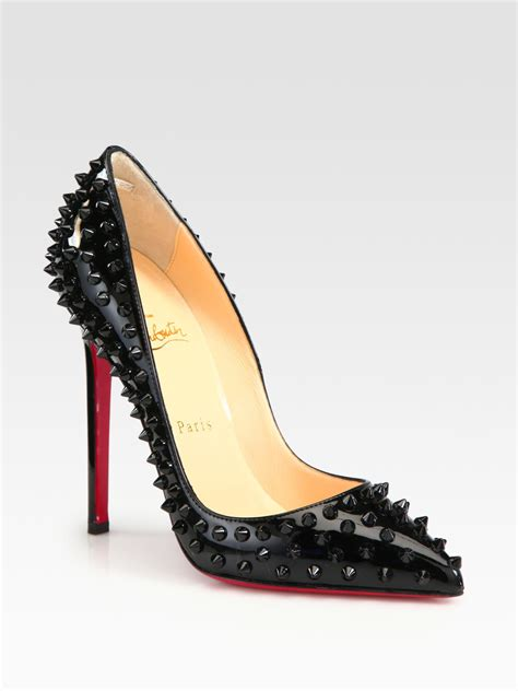christian louboutin shoes lyst christian louboutin studded patent leather pumps in