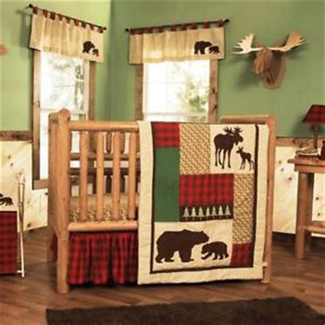 Plaid Boy Crib Bedding Great Alaska Woods Plaid W Moose And Bears Baby Boys 3 Pc Crib Bedding Set Ebay