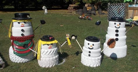 snowman decorations for the home the snowman family made from tires hometalk