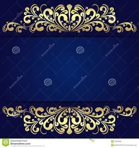 navy blue background decorated the golden royal border royalty free elegant blue background with floral golden borders stock