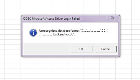unrecognized database format excel query excel odbc unrecognized database format access 2013