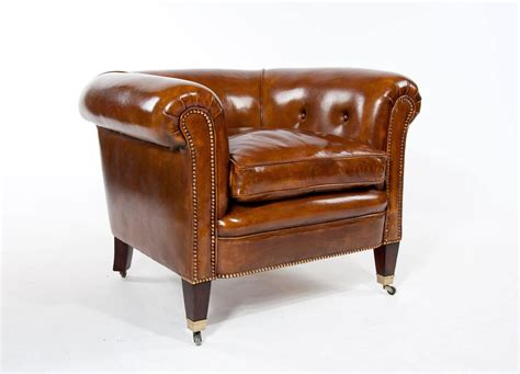 Tub Armchairs For Sale by Quality Pair Of Antique Leather Tub Armchairs For Sale At