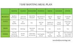 banting diet 7 day banting meal plan body recovering