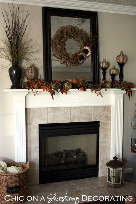 Mantle Decoration by Chic On A Shoestring Decorating Burlap Fall Mantle