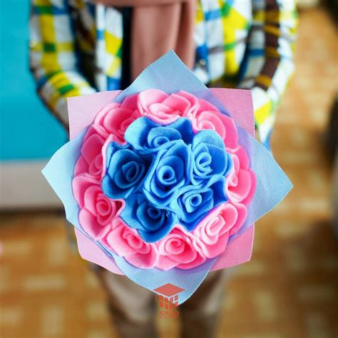 Buket Bunga Biru jual bouquet bunga flanel biru pink 0858 7874 9975