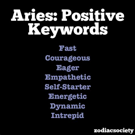 positive keywords of aries zodiac signs aries