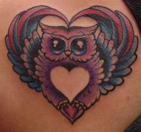 Owl Tattoo In Heart | heart owl tattoo