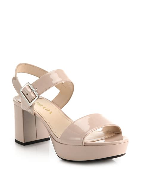 pink patent sandals prada patent leather sandals in pink lyst