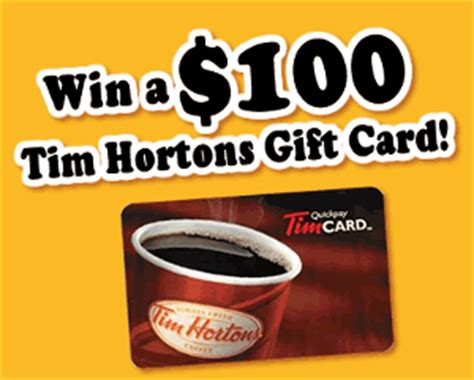 contest tim hortons 100 gift card survey giveaway