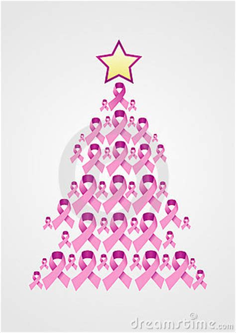 breast cancer ribbon christmas tree stock images image