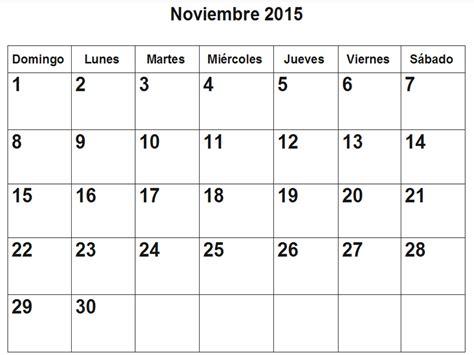 El Calendar Calendario De Noviembre 2015 En Pdf Para Imprimir