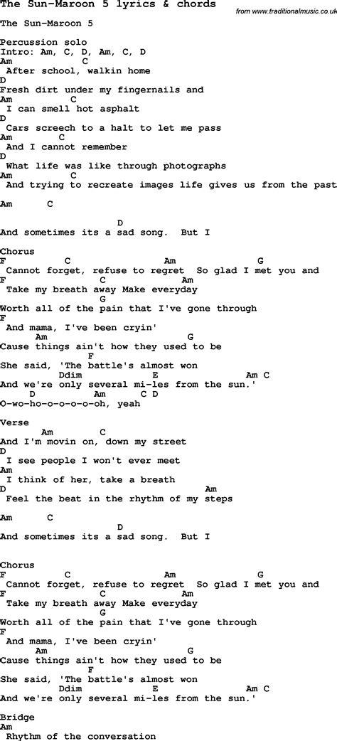 printable lyrics sugar maroon 5 love song lyrics for the sun maroon 5 with chords