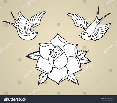 old school zwaluw tattoo oldschool styled tattoo outline swallows rose stock vector