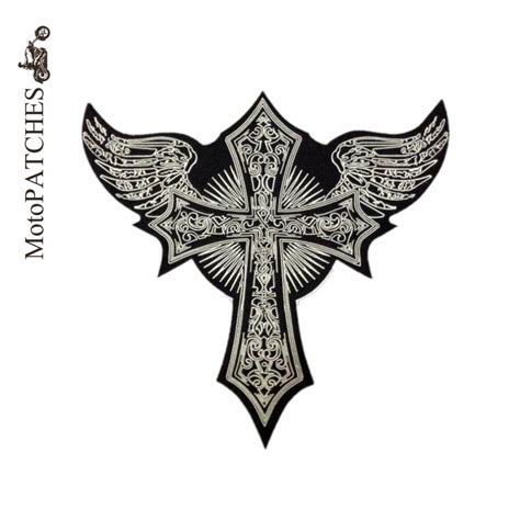 Patchwork Iron - embroidery patch skull cross wing motorcycle patch