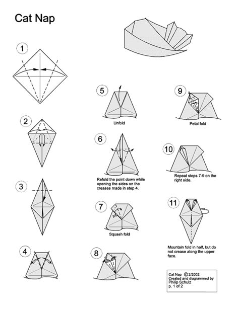 Origami Cat Diagram - origami swami origami cats