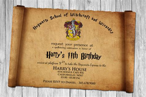 card template harry potter free harry potter papyrus style birthday invitation psd