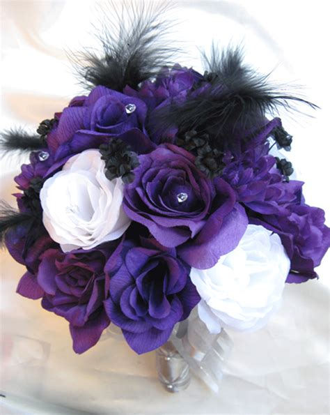 wedding bouquet bridal silk flowers purple white silver black feathers17pc ebay