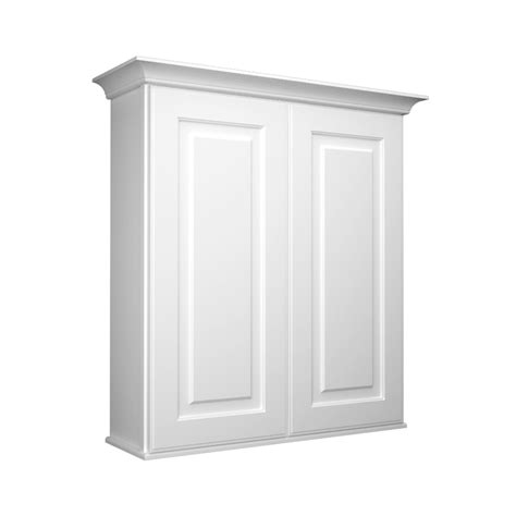 Bathroom Storage Wall Cabinet Shop Kraftmaid 27 In W X 30 In H X 8 In D White Bathroom Wall Cabinet At Lowes