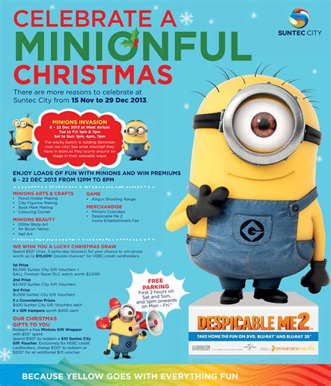 suntec city minionful christmas brings minions invasion  west atrium december  great