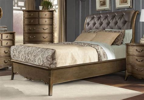 antique finish bedroom furniture silk upholstered antique gold finish queen bed bedroom