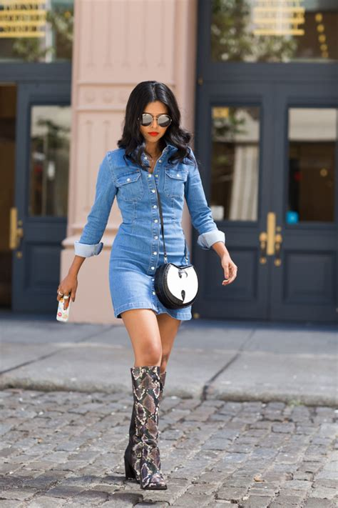 dress walk in denim dress knee high