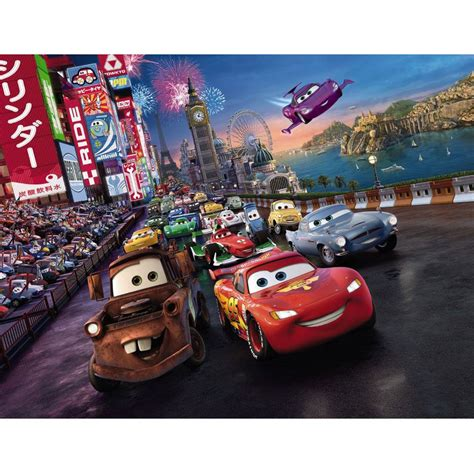 disney cars wall mural disney cars race wall mural bedroom 254cm x 183cm official ebay
