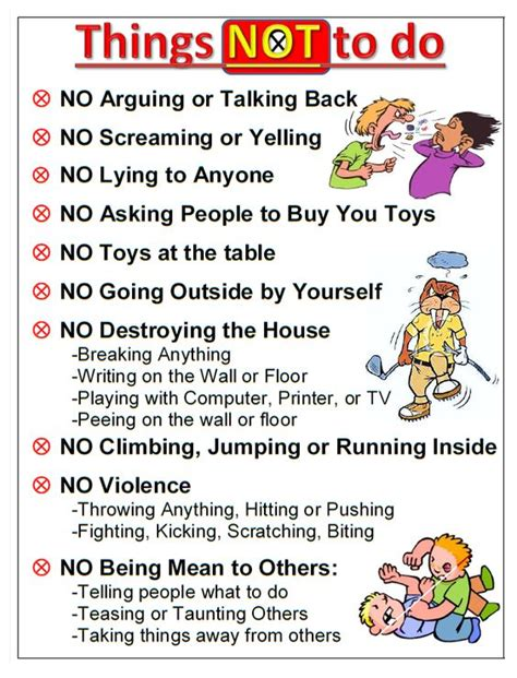 printable house rules chart house rules a general list of rules for kids to follow at