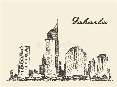 jakarta skyline stock vector illustration of holiday jakarta skyline illustration hand drawn sketch stock