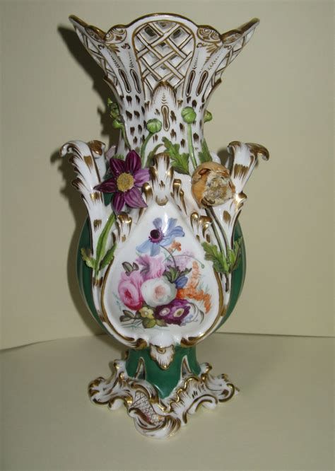Porcelain Flower Vases by Porcelain Flower Encrusted Vase Circa 1860
